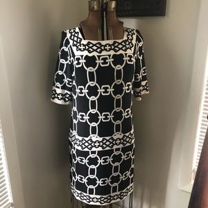 London Times Dress 10 S/S Black White/Ivory Chain